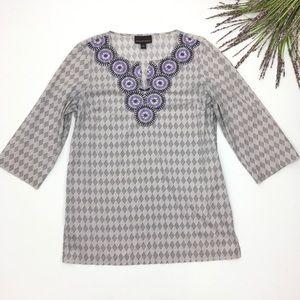 Dana Buchman | Grey Purple Embroidered Tunic Top